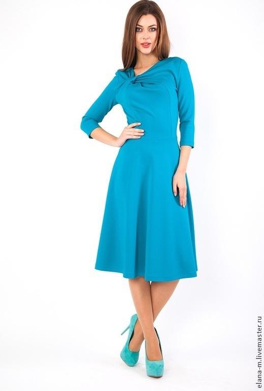 Состав: 72% - вискоза, 26% - нейлон, 2% - эластан   Размеры: 40, 42, 44, 46, 48, 50, 52   бизнес платье или деловое платье, платье на весну бирюзовое платье джерси, ткань итальянское джерси, весеннее платье,  европейские повседневные платья  для работы, платье на выход делового стиля платья офисные, моды платья до колена, платье с рукавами, платье с рукавом 3/4 дресс код платье красивое