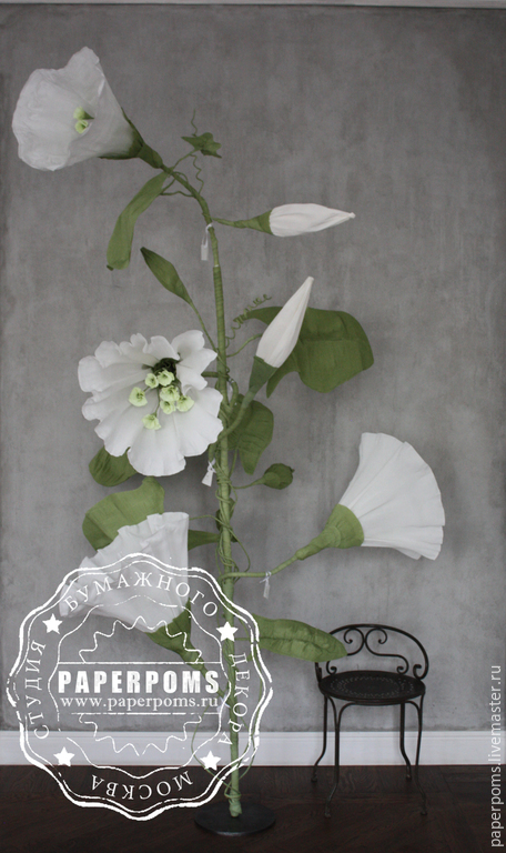 Свадебные аксессуары ручной работы. Ярмарка Мастеров - ручная работа. Купить Вьюн. Handmade. Белый, вьюн, бумажные цветы