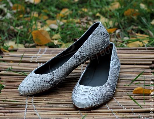 Обувь ручной работы. Ярмарка Мастеров - ручная работа. Купить Балетки из кожи питона натуральные. Подклад из кожи. Handmade. Балетки