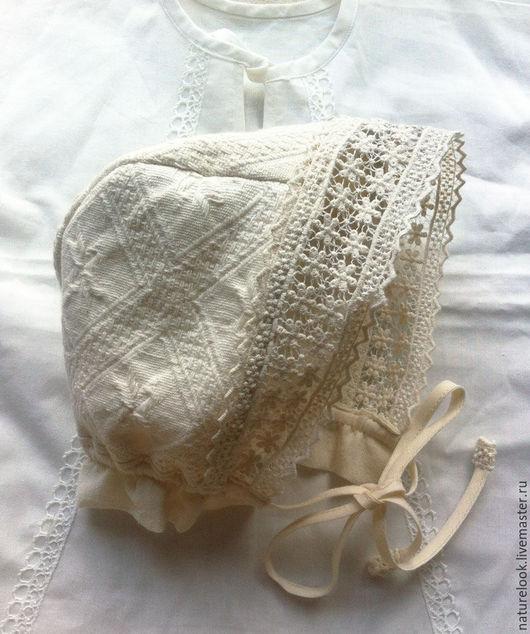 Для новорожденных, ручной работы. Ярмарка Мастеров - ручная работа. Купить чепчик в винтажном стиле (теплый). Handmade. Чепчик