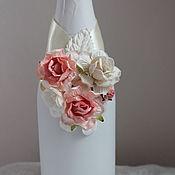 Бутылки ручной работы. Ярмарка Мастеров - ручная работа Украшение на бутылки с цветами. Handmade.