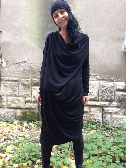 Платья ручной работы. Ярмарка Мастеров - ручная работа. Купить Экстравагантное  ассиметричное платье из хлопока трикотажа трансформер. Handmade. Черный