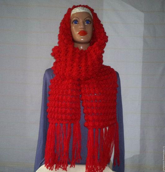 Шарфы и шарфики ручной работы. Ярмарка Мастеров - ручная работа. Купить Объёмный вязаный шарф с кистями. Handmade. Ярко-красный