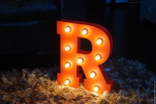Освещение ручной работы. Ярмарка Мастеров - ручная работа. Купить Буква R объемная. Handmade. Ярко-красный, декор для интерьера
