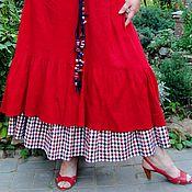 Одежда ручной работы. Ярмарка Мастеров - ручная работа Юбка летняя красная Бохо. Handmade.