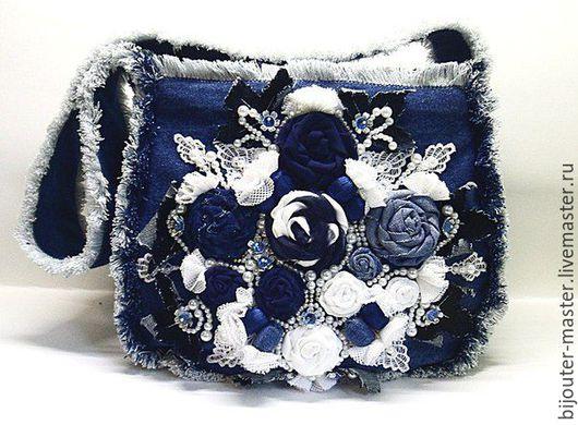 Женские сумки ручной работы. Ярмарка Мастеров - ручная работа. Купить Джинсовая сумочка -  ЛОЛИТА. Handmade. Синий, вышивка бусинами