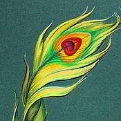 Картины и панно ручной работы. Ярмарка Мастеров - ручная работа Картина пастелью Золотое перо. Handmade.