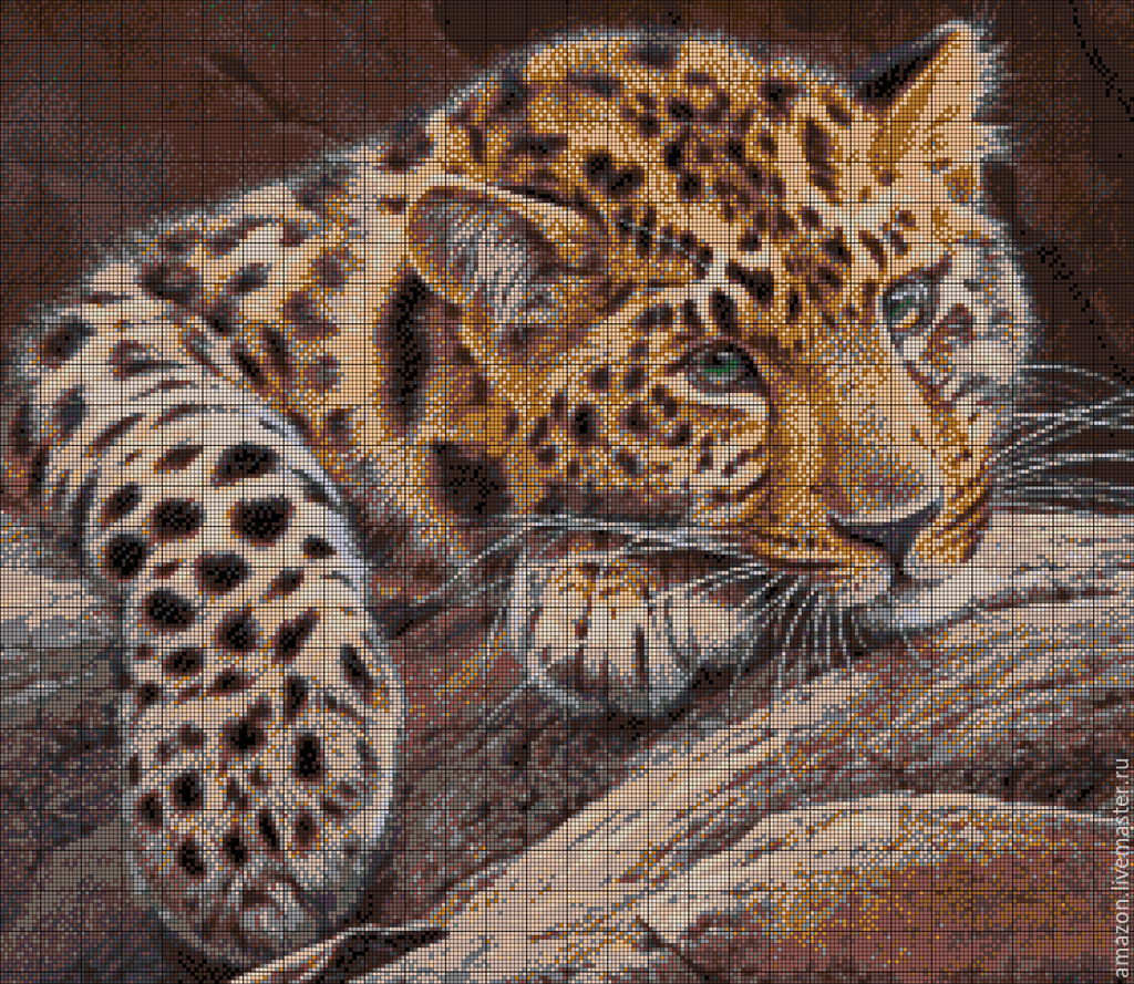 Kit embroidery with beads 'Leopard at rest' full lining with beads, Embroidery kits, Ufa,  Фото №1