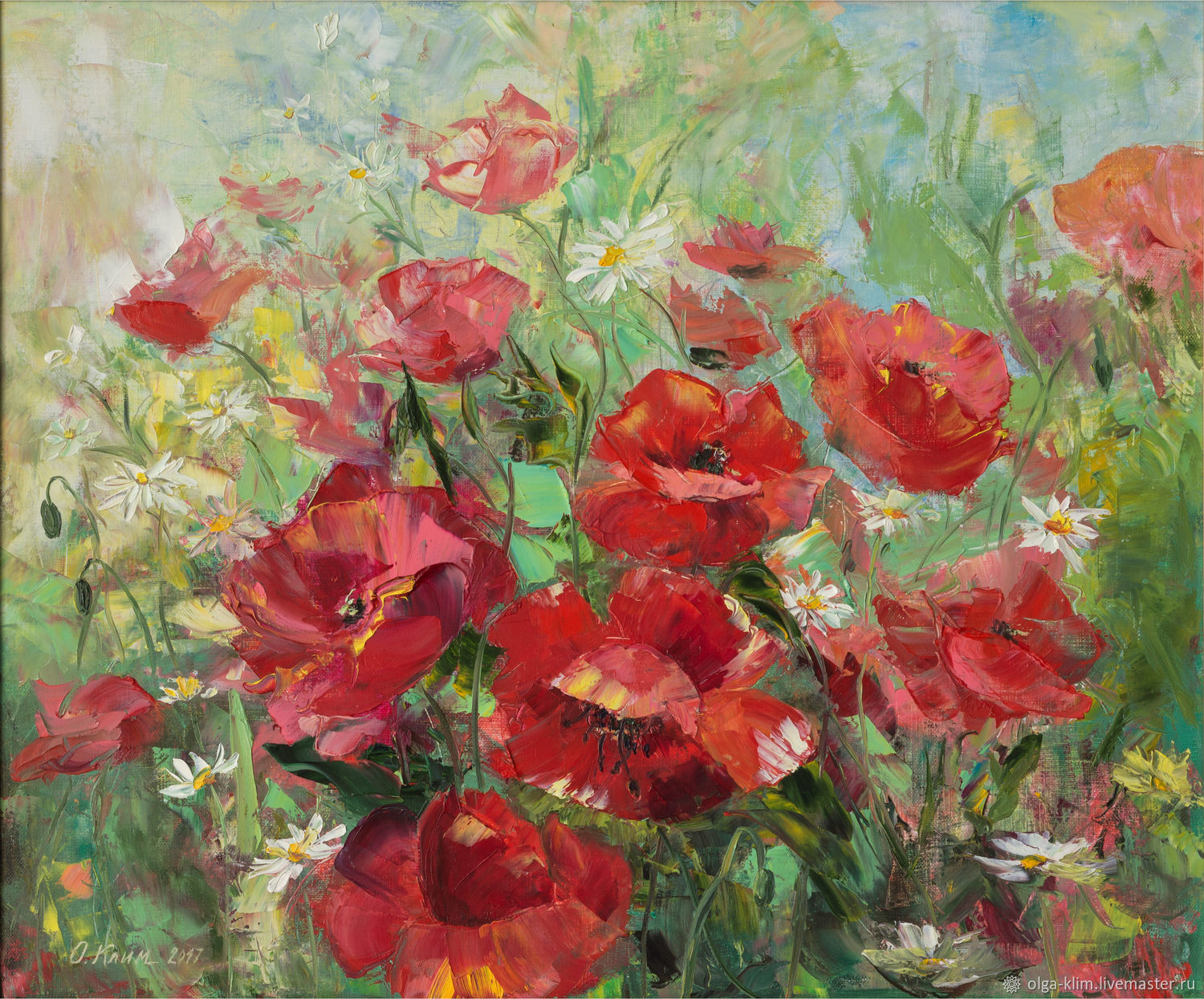 Painting poppies flowers 'Dance with the wind' Landscape with red poppies, Pictures, Ekaterinburg,  Фото №1