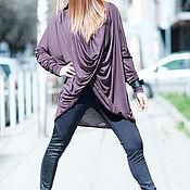 Одежда handmade. Livemaster - original item Brown, knitted long sleeve tunic - TP0492TR. Handmade.