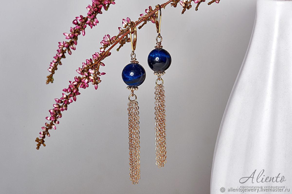 Long gold earrings with cat's eye, Earrings, Moscow,  Фото №1