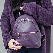 Сумки и аксессуары handmade. Livemaster - original item Lilac backpack female genuine leather BRUNO MO, blueberries. Handmade.
