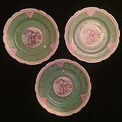 """Винтаж ручной работы. Ярмарка Мастеров - ручная работа Трио тарелок """"Жницы"""", фарфор, Дулево. 1920е гг. Handmade."""