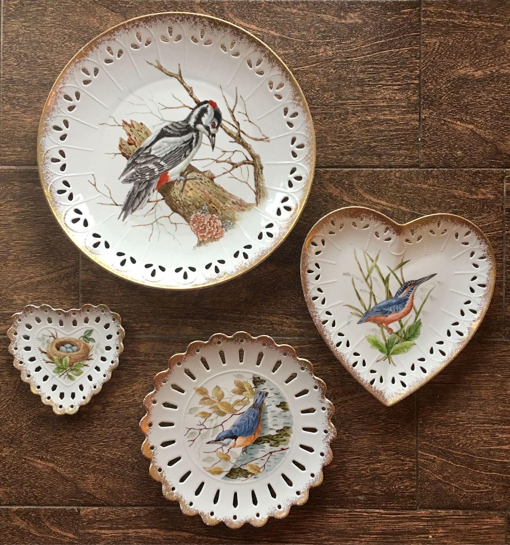 Painted porcelain. A set of 'Bird Quartet», Dinnerware Sets, Kaluga,  Фото №1