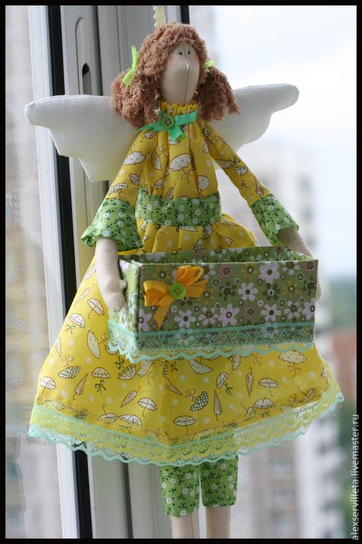 Куклы Тильды ручной работы. Ярмарка Мастеров - ручная работа. Купить Хранительница чайных пакетиков. Handmade. Желтый, хранительница, хлопок
