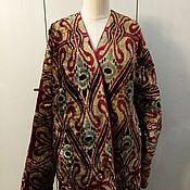 Одежда handmade. Livemaster - original item Silk velvet caftan made of ikat. Uzbek chapan. boho coat. Handmade.