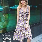 Одежда ручной работы. Ярмарка Мастеров - ручная работа Платье с запахом «Лёгкость», лиловый сад. Handmade.