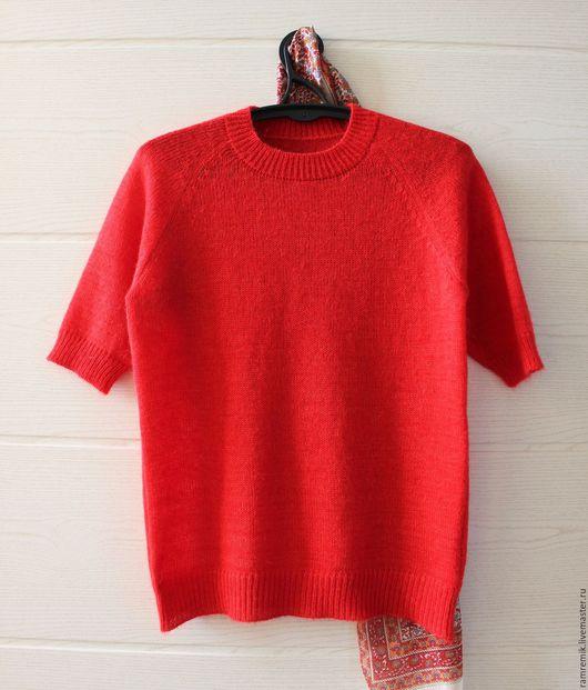 Кофты и свитера ручной работы. Ярмарка Мастеров - ручная работа. Купить Тонкий мохеровый пуловер с коротким рукавом (женский). Handmade.