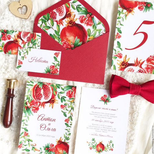 Свадебные аксессуары ручной работы. Ярмарка Мастеров - ручная работа. Купить Акварельные свадебные красные приглашения Гранатовая свадьба. Handmade.