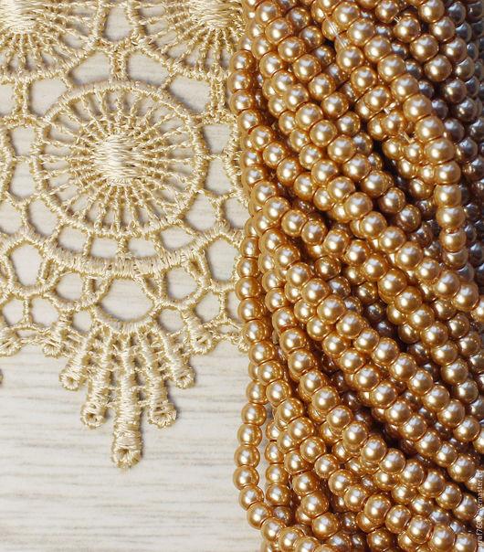 Для украшений ручной работы. Ярмарка Мастеров - ручная работа. Купить Жемчуг стеклянный 3 мм Бледное золото. Handmade.