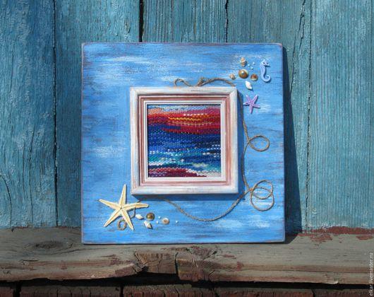 """Пейзаж ручной работы. Ярмарка Мастеров - ручная работа. Купить мини гобелен """"Закат на море"""". Handmade. Голубой, рамка для фото"""