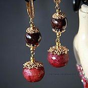 """Earrings handmade. Livemaster - original item Серьги """"Бургундия"""" - гранат, яшма, позолота.. Handmade."""