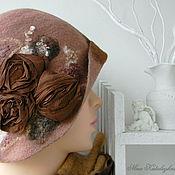 Аксессуары ручной работы. Ярмарка Мастеров - ручная работа Валяная шляпка Розы из шоколада Шляпка из шерсти Шляпа. Handmade.