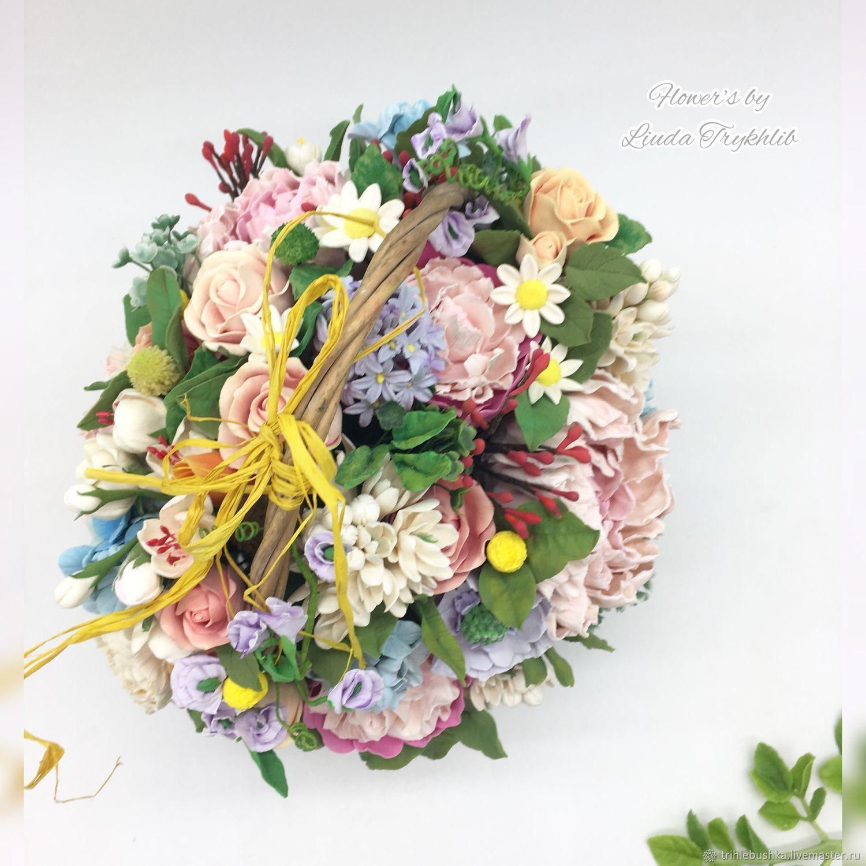 Корзина с нежными цветами из глины, Цветы, Киев,  Фото №1