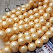 Материалы для творчества handmade. Livemaster - original item Pearl Shell Pearl (similar Mallorca) faceted 8 mm gold (Ref. 2623). Handmade.
