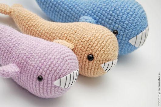 Игрушки животные, ручной работы. Ярмарка Мастеров - ручная работа. Купить Китовая семейка. Handmade. Голубой, вязаная игрушка