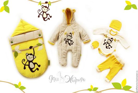 """Для новорожденных, ручной работы. Ярмарка Мастеров - ручная работа. Купить Комплект на выписку и для прогулок """"Банановое счастье"""". Handmade. Желтый"""