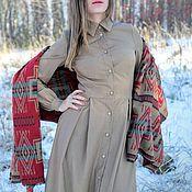 Одежда ручной работы. Ярмарка Мастеров - ручная работа Бежевое шерстяное платье-рубашка с длинным рукавом. Handmade.