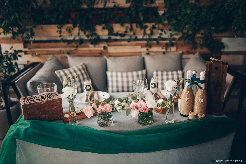 Оформление свадьбы в зелёных оттенках, Цветочный декор, Москва,  Фото №1