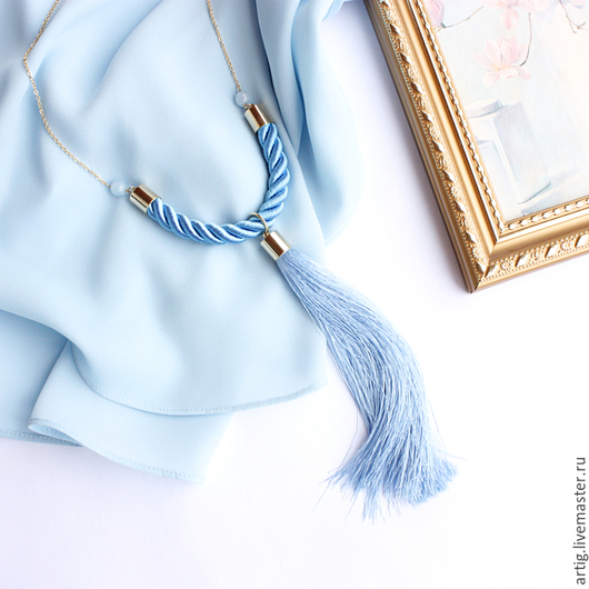 Кулоны, подвески ручной работы. Ярмарка Мастеров - ручная работа. Купить Подвеска Tassels Голубая с нефритом. Handmade. Синий, кулон