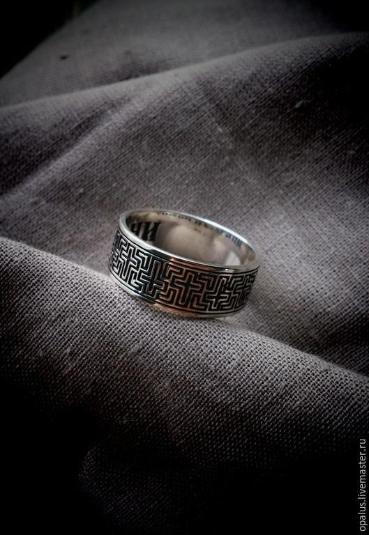 """Украшения для мужчин, ручной работы. Ярмарка Мастеров - ручная работа. Купить кольцо """"Крест"""". Handmade. Черный, серебряное кольцо"""