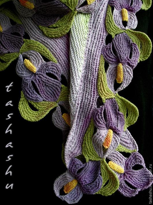 Шарфы и шарфики ручной работы. Ярмарка Мастеров - ручная работа. Купить Шарф Ирисы. Handmade. Разноцветный, вязаные цветы