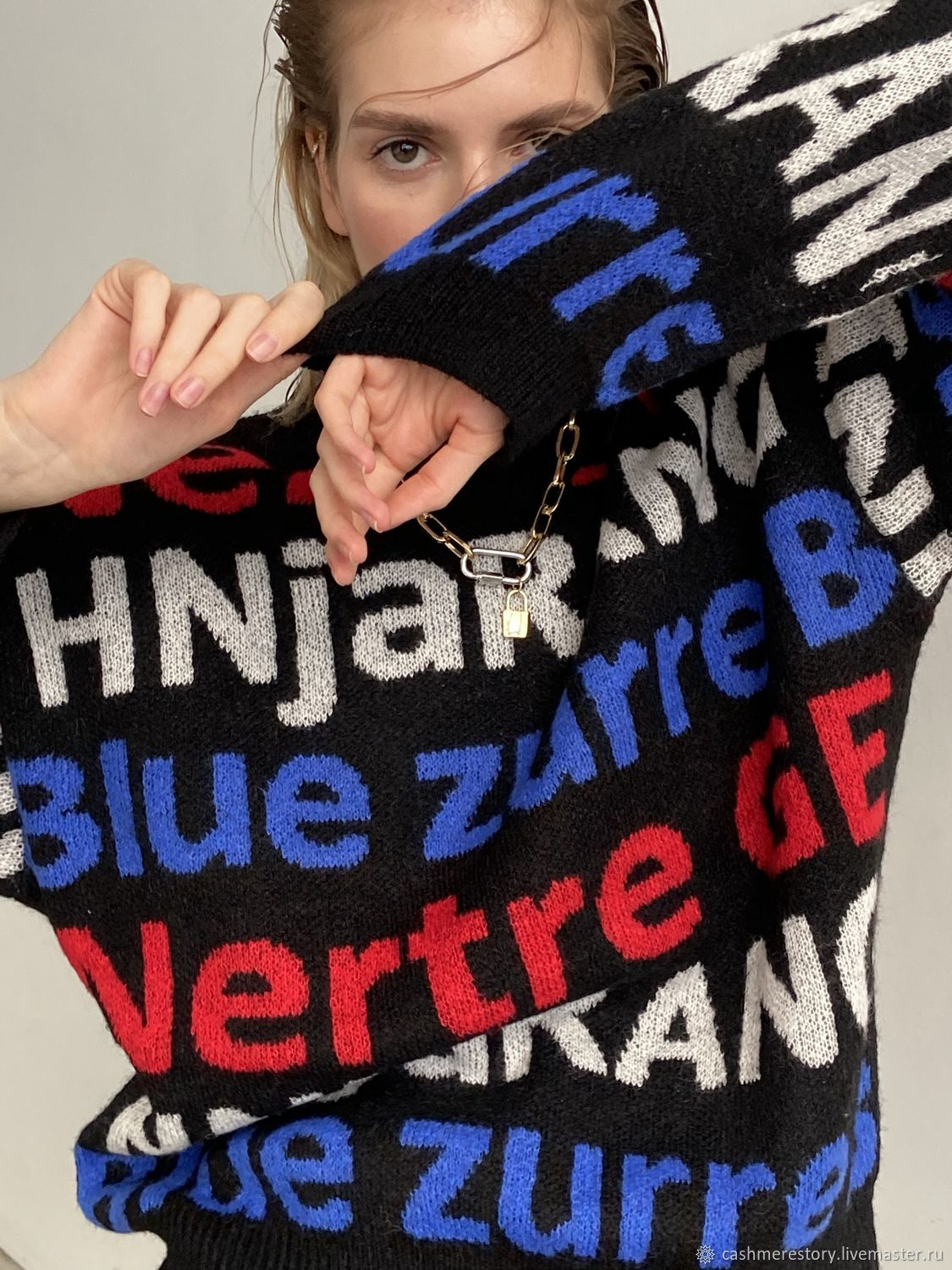 Black azzure sweater bright letters, Sweaters, Moscow,  Фото №1