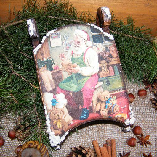 Интерьерные новогодние сани декупаж новогодний декор купить в подарок на новый год купить в москве на Ярмарке Мастеров ручная работа новогодние подарки Дед Мороз Санта игрушки Рождество