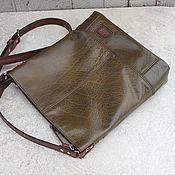 Сумки и аксессуары ручной работы. Ярмарка Мастеров - ручная работа Кожаная сумка оливковый планшет. Handmade.