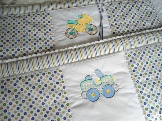 Детская ручной работы. Ярмарка Мастеров - ручная работа. Купить Комплект для кроватки новорожденного Бортики Кармашек Именная подушка. Handmade.