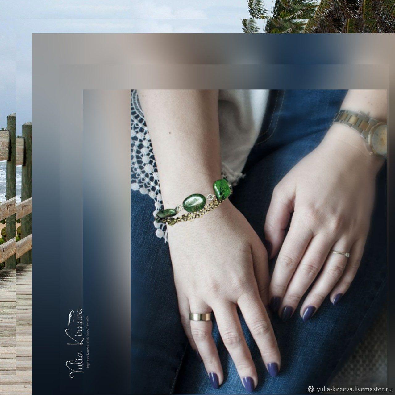 """""""Зеленая яшма"""" - трансформер (браслет & ожерелье)"""