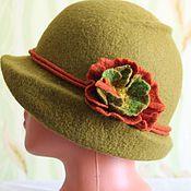 Аксессуары ручной работы. Ярмарка Мастеров - ручная работа Валяная шляпка-Зелёный янтарь. Handmade.