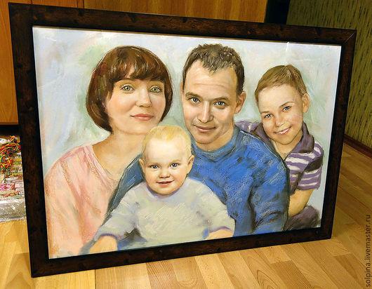 Персональные подарки ручной работы. Ярмарка Мастеров - ручная работа. Купить Семейный портрет (формат А1). Handmade. Голубой, бумага