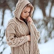 Одежда handmade. Livemaster - original item cardigans: Women`s knitted coat with hood oversize beige color. Handmade.