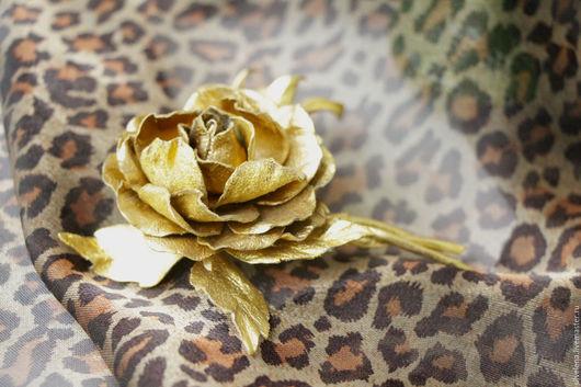 Броши ручной работы. Ярмарка Мастеров - ручная работа. Купить Роза из кожи с бутоном Эмили золотая. Брошь из кожи. Цветы из кожи. Handmade.
