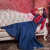 Одежда ручной работы. Ярмарка Мастеров - ручная работа Юбка сарафан джинсовый макси / миди синий темный / голубой. Handmade.