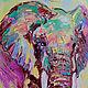 """Животные ручной работы. Заказать Картина со слонами """"Нежность"""" (холст, масло). ЯРКИЕ КАРТИНЫ Наталии Ширяевой. Ярмарка Мастеров."""