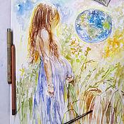 Картины и панно handmade. Livemaster - original item The world inside me is a picture on paper. Handmade.