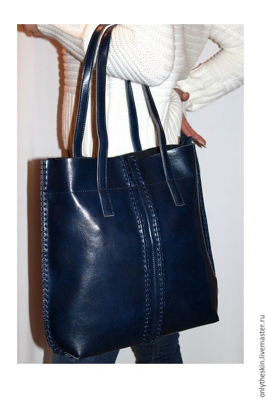 Женские сумки ручной работы. Ярмарка Мастеров - ручная работа. Купить Синяя стильная женская сумка из натуральной коровьей кожи. Handmade.