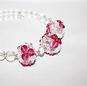 """Колье-чокер """"Орхидеи"""",лэмпворк,горный хрусталь, прозрачный, розовый"""